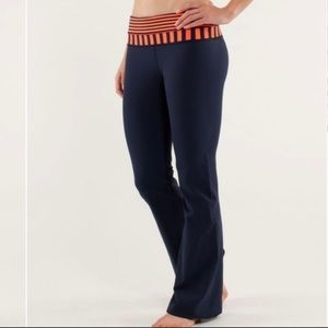 Lululemon Navy Neon Orange Bootcut Groove Pants